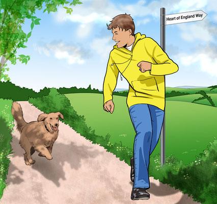 Illustration Junge mit Hund