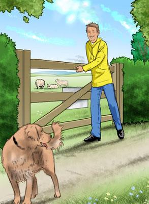 Illustration Junge mit Hund 03
