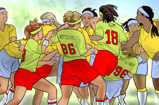 Illustration  Mädchen-Rugby