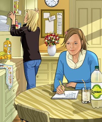 Illustration Mother & daughter in kitchen