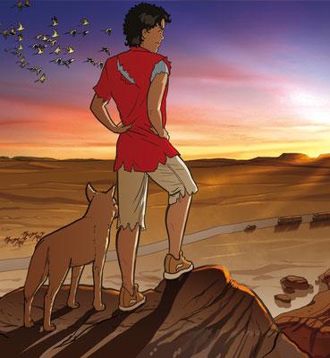 "Titelillustration Lektüre ""Dawn over the Outback"""