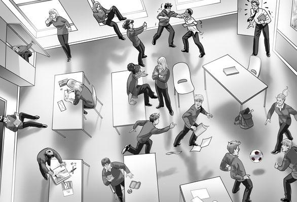 Illustration Unordnung im Klassenzimmer