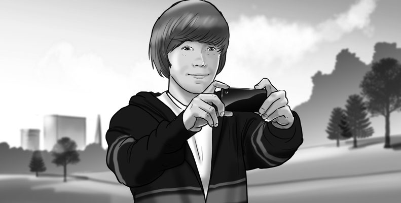 Illustration boy taking photo