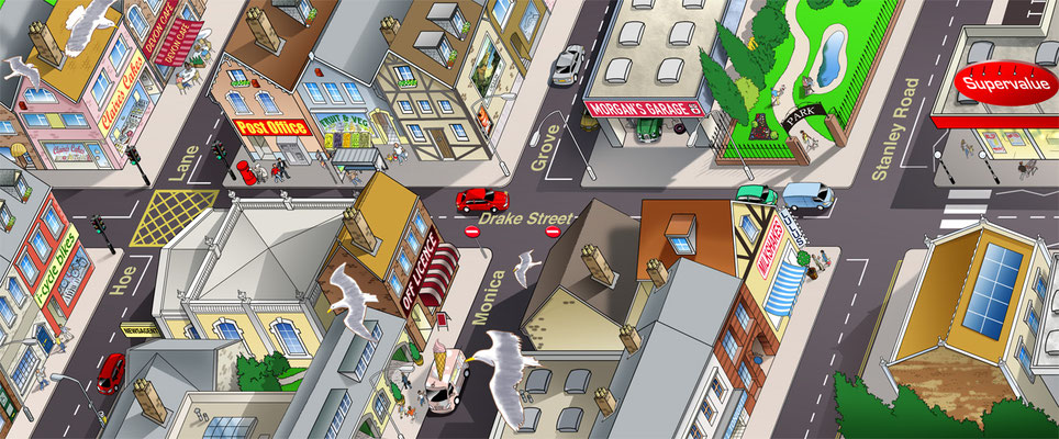 Illustration_Bird's eye-view English town