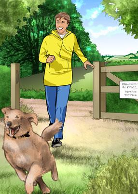 Illustration Junge mit Hund 02
