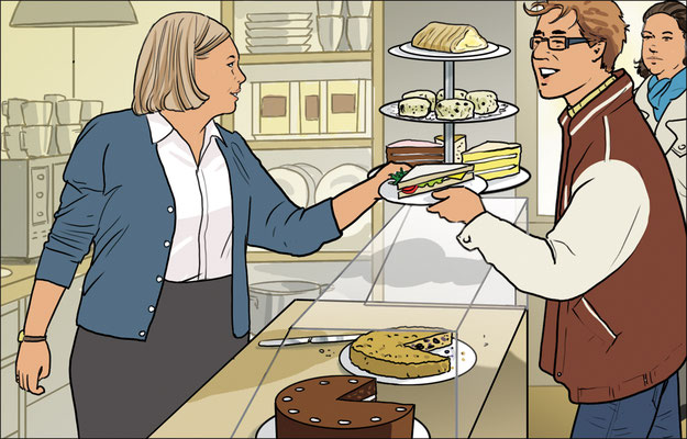 "Illustration ""Im Café"""