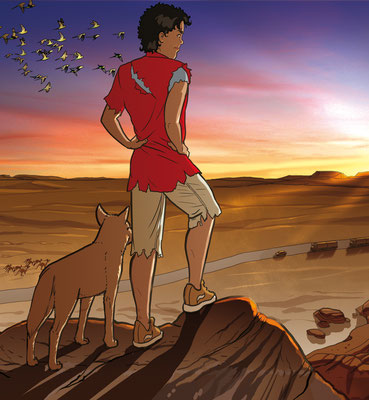 "Titel illustration ""Dawn over the Outback"""