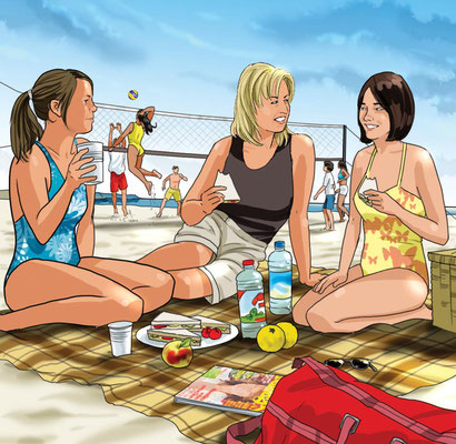 Illustration beach picnic