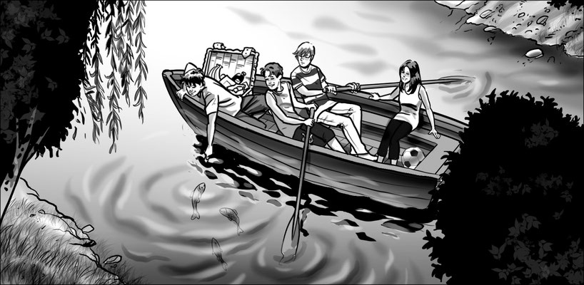 Illustration Kinder im Ruderboot