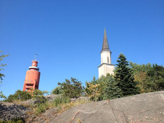 Wasserturm und Kirche - zu Lande und vom Wasser aus immer zu sehen
