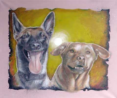 Hundeportrait 'Mali Akira und Mischling Diego'