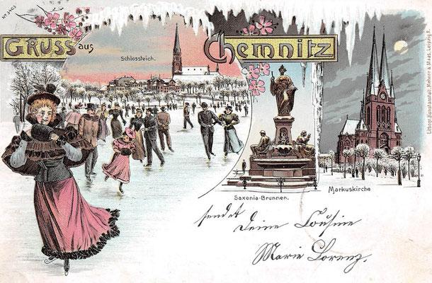 Winter auf dem Schossteich 1899