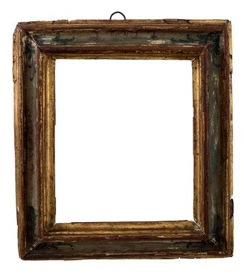 7820  Rahmen, Venedig 18.Jh., Pienienholz gefasst, bemalt und vergoldet, 17,4 x 15 x 4,5 cm