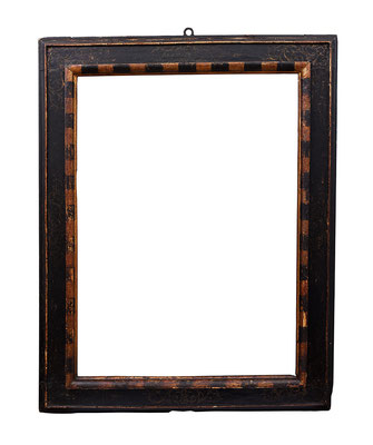 "0935  Kassettenrahmen, Siena Ende 16. Jh., Pappelholz ""nero e oro "" dekoriert, 97,5 x  71 x 12,7 cm"