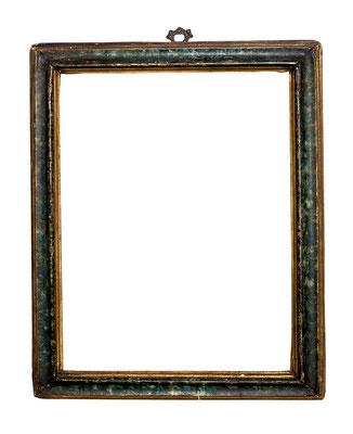 0475  Profil Rahmen, Marken 17./18.Jh., Pappelholz blau- grün marmoriert und vergoldet,26,5 x 20 x 2,9 cm