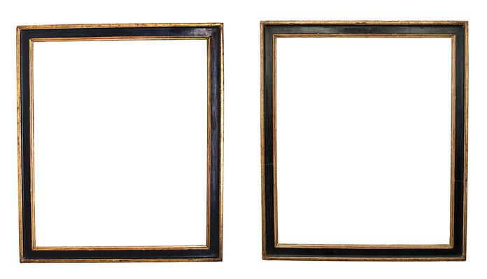 0451/7737  Paar Louis XVI Rahmen, Eiche profiliert, geschwärzte Platte und vergoldet, je 69 x 58 x 5,5 cm