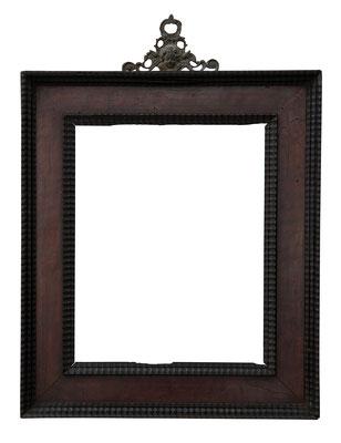 9194  Kabinett Rahmen, 16./ 17.Jh., Nussholz furniert und Ebenholz Wellenleisten, 22 x 17,6 x 5 cm