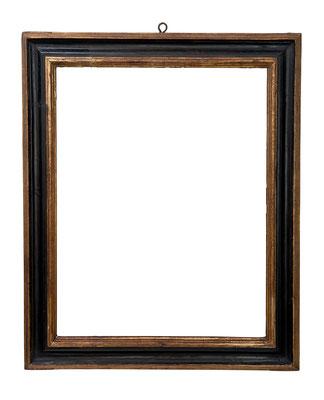 9174  Kassettenrahmen, Piemont 16.Jh., schwarz gold gefasst, 89 x 70 x 11 cm