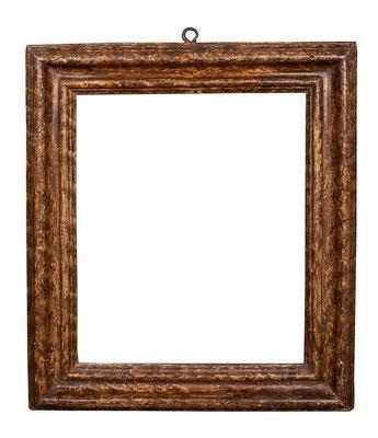 0363  Profil Rahmen, Marken 17./18.Jh., Pappelholz braun marmoriert, 30 x 24,6 x 5,7 cm