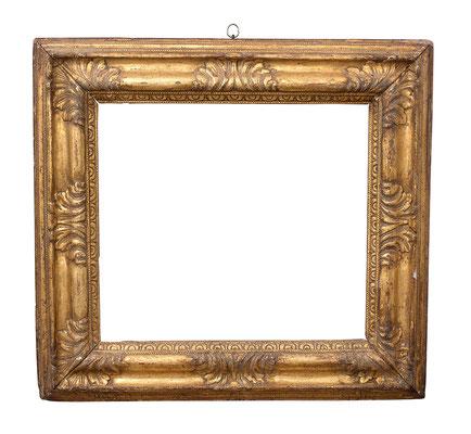 0948  Blattrahmen, Piemont 17.Jh., Lindenholz geschnitzt und vergoldet, 34 x 38,5 9,3 cm