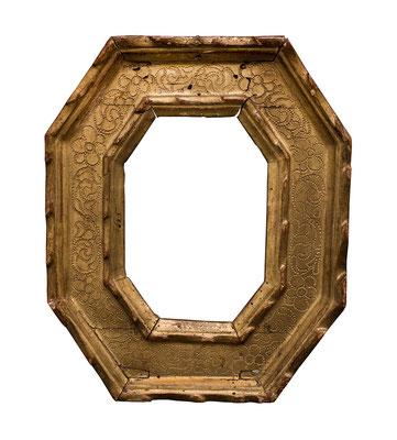 0520  Kassettenrahmen, Emilia Romagna, 16./17.Jh., geschnitzt und vergoldet, 12,9 x 8,9 x 5,1 cm