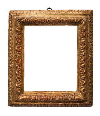 1017  Louis XIII Rahmen, Eiche geschnitzt und vergoldet, 16 x 12,6 x 3,9 cm