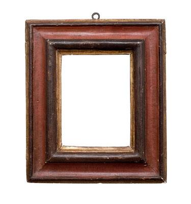 0496  Profil Rahmen, 17./18.Jh., Pappelholz polychrom gefasst und vergoldet, 17,1 x 13 x 7,4 cm
