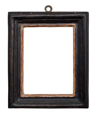 0531  Salvator Rosa Rahmen, Rom 17.Jh., Pappelholz geschwärzt und vergoldet, 14,2 x 10,2 x 3,5 cm