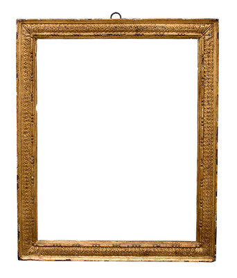 0858  Kassettenrahmen, Toskana 2.Hälfte 16.Jh., Nussholz geschnitzt und vergoldet, 54,4 x 45,2 x 5,6
