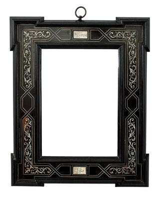 7799  Veduten Rahmen, 19.Jh., mit Beinintarsien bezeichnet Ricordo Roma (Erinnerung an Rom), 27,1 x 19,2  x8 cm