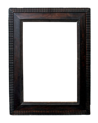8418  Wellenleisten Rahmen, Niederlande 17.Jh., Birne ebonisiert, 46,2 x 31 x 8 cm, Diagonal an zwei Ecken verkürzt