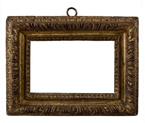 7808  Manieristischer Rahmen, Ligurien 17.Jh., Pappelholz geschnitzt und vergoldet, 15,6 x 24,3 x 7 cm