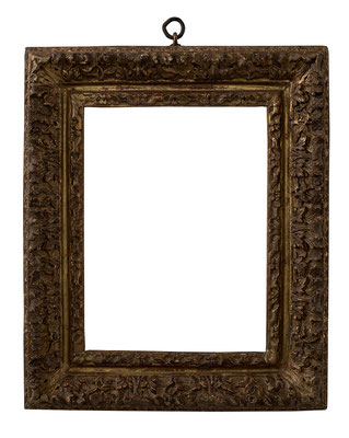 7807  Louis XIII Rahmen, Eiche geschnitzt und vergoldet, 25,7 x 16,3 x 6,3 cm