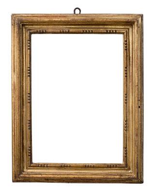 2245  Profil Rahmen, Emilia Romagna, 17.Jh., Pappelholz geschnitzt und vergoldet, 28 x 18 x 5,8 cm