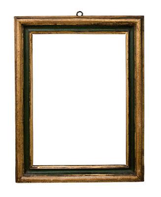 7753  Salvator Rosa Rahmen, Rom 17.Jh., Pappelholz grün gefasst und vergoldet, 33 x 23,5 x 4,5 cm