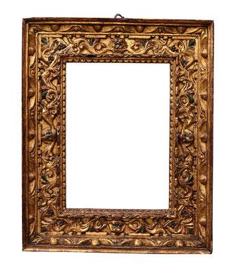 0922  Manieristischer Rahmen, Neapel? 16./17.Jh., geschnitzt und vergoldet, 43,2 x 30,5 x 12,5 cm