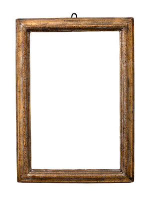 7755  Profil Rahmen, 17./18.Jh., Pappelholz Reste von Silber, 39,2 x 24,5 x 4 cm