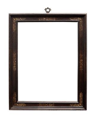 0409  Kassettenrahmen, Toskana 16./ 17.Jh., Nussholz mit Ebenholz furniert und Goldmalerei, 43,6 x 32,2 x 5 cm