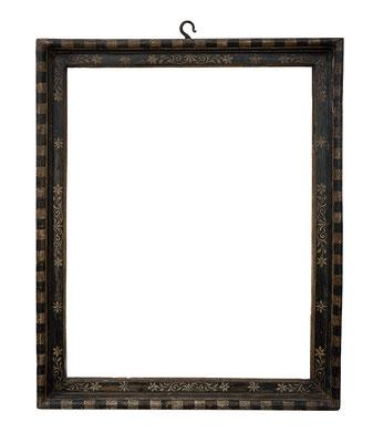 9178  Kassettenrahmen, Siena 16./17.Jh., Pappelholz schwarz weiß gefasst 63,7 x 49 x 5,8 cm