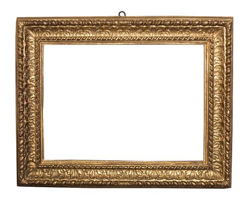 0430  Blattrahmen, Piemont 17.Jh., Lindenholz geschnitzt und vergoldet 41,5 x 56,5       x 10 cm