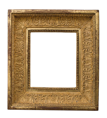 1033  Empire Rahmen, Pappel mit Masse z.T. vergoldet, 18,8 x 15,5 x 6,9 cm