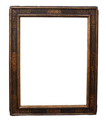 0925  Kassettenrahmen, Toskana 16./17.Jh., Pappelholz schwarz gold gefasst, 95,5 x 70,2 x 12 cm