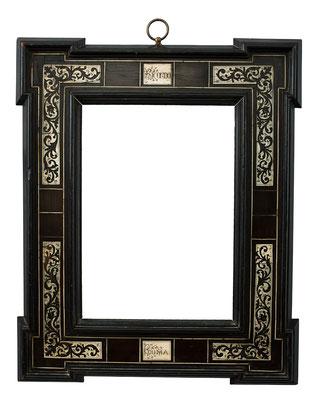 7798  Veduten Rahmen, 19.Jh., mit Beinintarsien bezeichnet Ricordo Roma (Erinnerung an Rom), 26,5 x 18,8 x 8,3 cm