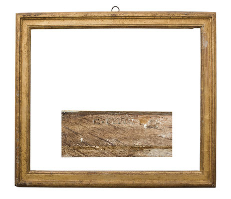 2223  Louis XVI Rahmen sign. C. PEPIN, Eiche profiliert und vergoldet, 44,5 x 35,5 x 4,7 cm