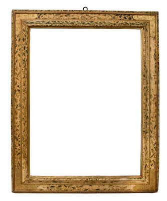 7745  Kassettenrahmen, Marken 16./17. Jh., Pappelholz polychrom gefasst und vergoldet, 89,5 x 65,7 x 11 cm