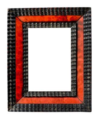 1024  Kabinett Rahmen, 17.Jh., Weichholz mit Schildpatt furniert und Ebenholz Wellenleisten, 11,5 x 7,7 x 3,6 cm