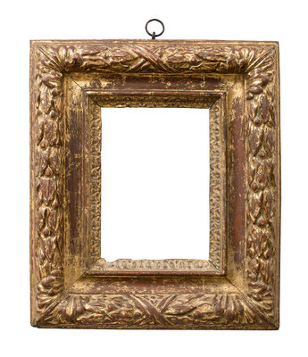1040  Blattrahmen, Piemont 17.Jh., Nussholz geschnitzt und vergoldet, 20 x 14 x 9,4 cm