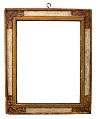7740  Kassettenrahmen,Marken 16./17. Jh., Pappelholz polychrom gefasst, 80 x 61 x 11,8 cm