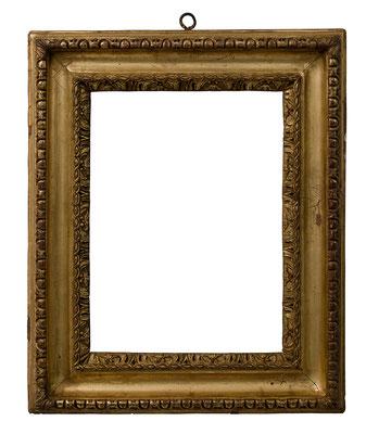 8394  Manieristischer Rahmen, Piemont um 17.Jh., Lindenholz geschnitzt und vergoldet, 35 x 25 x 8 cm