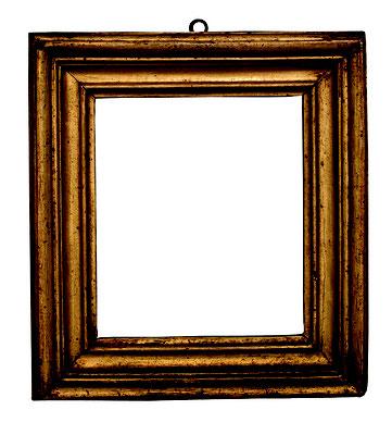 0527  Salvator Rosa Rahmen, Rom 17.Jh., Pappelholz vergoldet, 14 x 12 x 3,9 cm